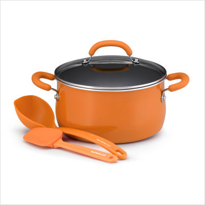 Porcelain+Enamel+4-Piece+_Soup+It+Up_+Cookware+Set+in+Orange